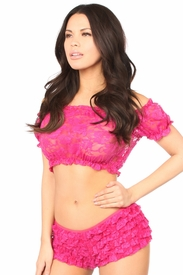Fuchsia Sheer Lace Short Sleeve Peasant Top - IN STOCK