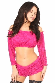 Fuchsia Lined Lace Long Sleeve Peasant Top - IN STOCK