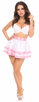 Pink/White 2 Layer Satin Skirt - IN STOCK