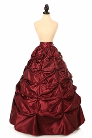 Wine Satin Pick-Up Long Skirt