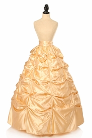 Gold Satin Pick-Up Long Skirt