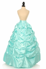 Aqua Satin Pick-Up Long Skirt