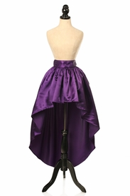 Plum Satin High Low Skirt