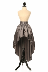 Gunmetal Satin High Low Skirt