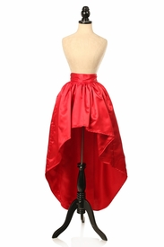 Red Satin High Low Skirt