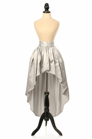 Silver Satin High Low Skirt
