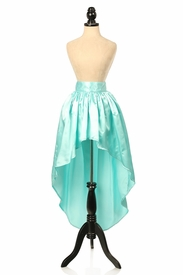 Aqua Satin High Low Skirt