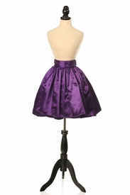 Plum Satin Short Skirt