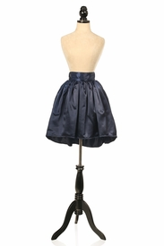 Navy Blue Satin Short Skirt