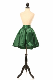 Dark Green Satin Short Skirt
