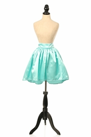 Aqua Satin Short Skirt