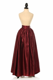 Wine Satin Long Skirt