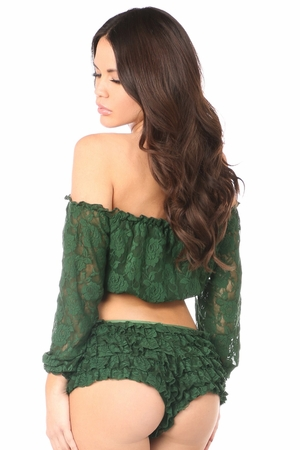Dark Green Lined Lace Long Sleeve Peasant Top - IN STOCK