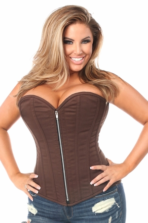 Top Drawer Dark Brown Cotton Steel Boned Overbust Corset w/Zipper - IN STOCK