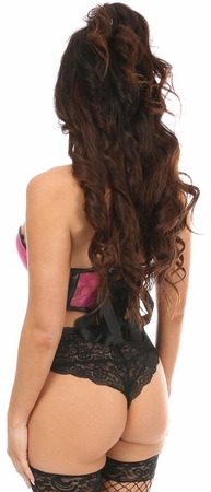Lavish Neon Pink Lace & Faux Leather Underwire Bustier
