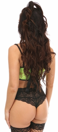 Lavish Neon Green Sheer Lace Bustier Top
