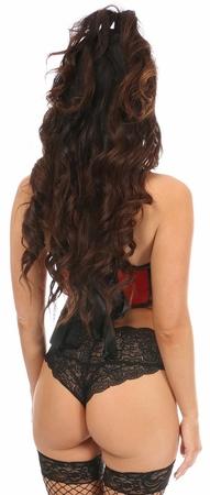 Lavish Red Lace & Faux Leather Underwire Bustier