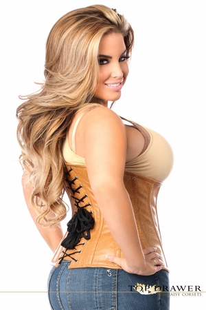 Top Drawer Camel Faux Leather Underbust Buckle Corset - IN STOCK