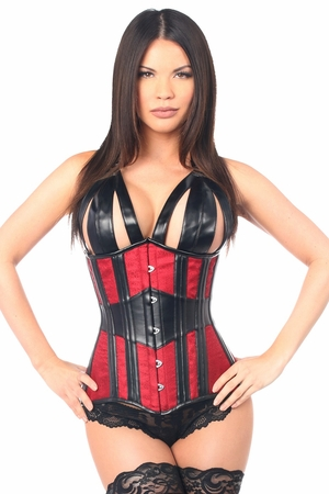 Top Drawer Faux Leather & Brocade Steel Boned Underbust Corset - IN STOCK