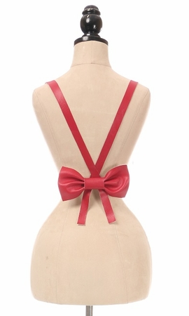 Red Vegan Leather Body Harness w/Bow (IN STOCK)