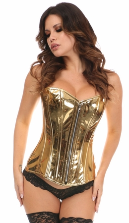 Top Drawer Gold Metallic Steel Boned Overbust Corset