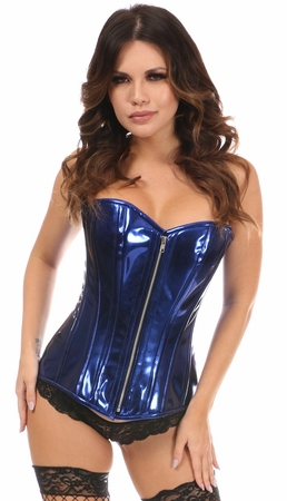 Top Drawer Blue Metallic Steel Boned Overbust Corset