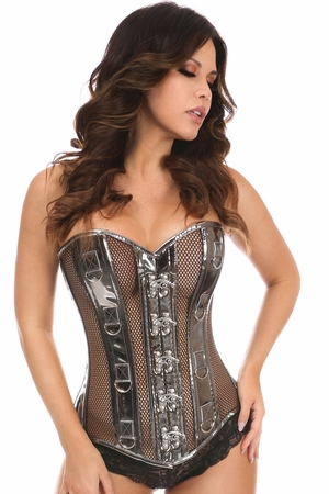 Top Drawer Gunmetal Metallic PVC & Fishnet Steel Boned Corset