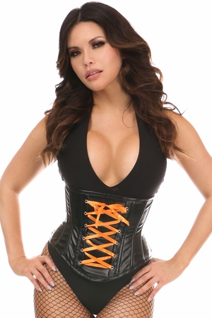 Lavish Wet Look Faux Leather Lace-Up Under Bust Corset