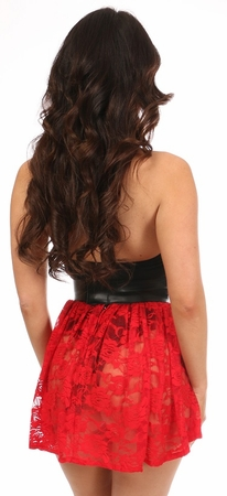 Red Sheer Lace Mini Skirt