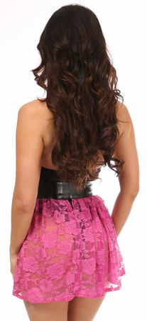 Neon Pink Sheer Lace Mini Skirt