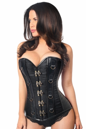 Top Drawer Black Brocade & Faux Leather Steel Boned Corset - IN STOCK
