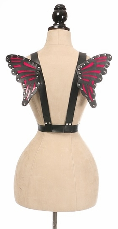 Black/Fuchsia Vegan Leather Butterfly Wings - IN STOCK