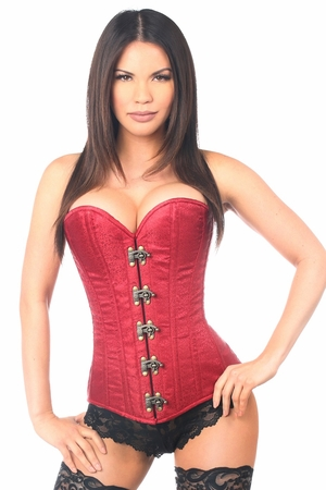 Top Drawer Wine Brocade Steel Boned Corset w/Clasp Closure - IN STOCK