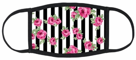 Roses & Stripes Fabric Face Mask