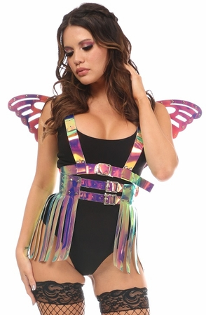 2 PC Rainbow Holo Harness & Skirt Set - IN STOCK