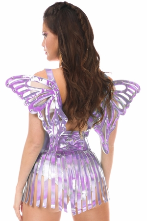 2 PC Lavender Holo Harness & Skirt Set - IN STOCK