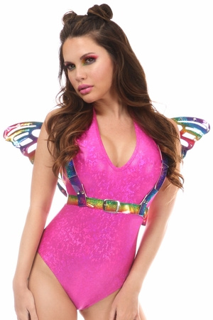 Rainbow Glitter Body Harness w/Wings - IN STOCK