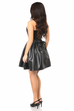 Top Drawer Steel Boned Faux Leather Dress