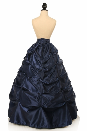 Navy Blue Satin Pick-Up Long Skirt
