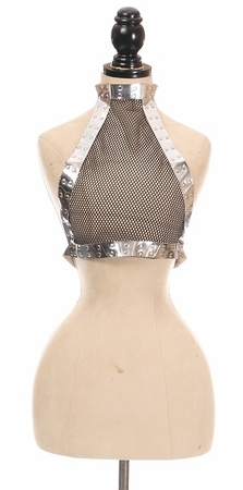 Silver Holo & Fishnet Halter Body Harness