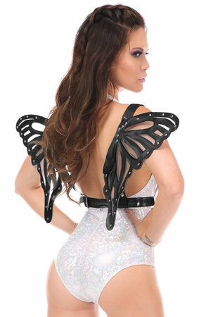 Black Patent Body Harness w/Wings - IN STOCK