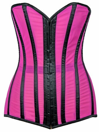 Lavish Neon Pink/Black Sheer Mesh Over Bust Corset