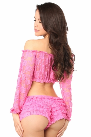 Pink Sheer Lace Long Sleeve Peasant Top - IN STOCK