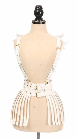 2 PC White & Gold Vegan Leather Harness Set - IN STOCK