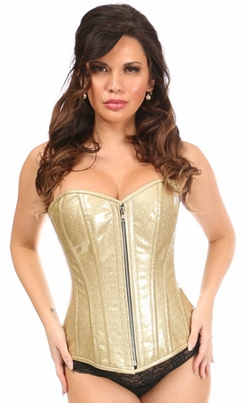 Top Drawer Gold Glitter PVC Steel Boned Overbust Corset