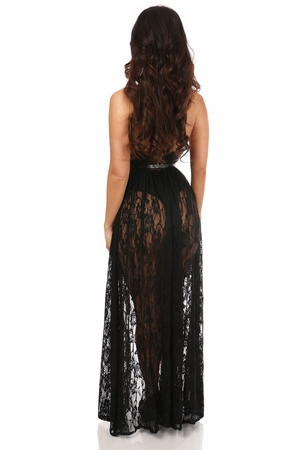 Black Sheer Lace Long Skirt