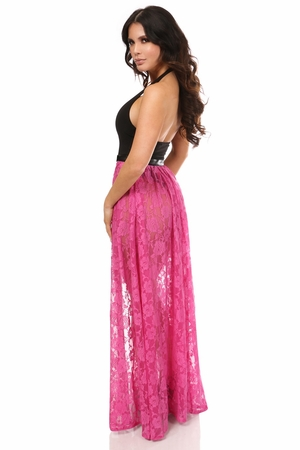 Neon Pink Sheer Lace Long Skirt