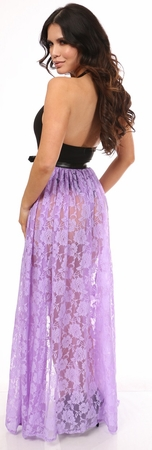Lavender Sheer Lace Long Skirt