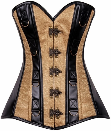 Top Drawer Gold Brocade & Faux Leather Steel Boned Corset