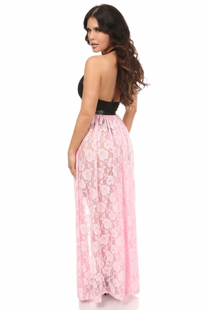 Lt Pink Sheer Lace Long Skirt